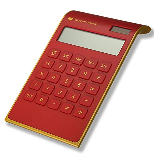 Caveen Calculator Ultra Thin Solar Power Calculator for Home Office Desktop Calculator Tilted LCD Display Business Calculator (Basic, Red)
