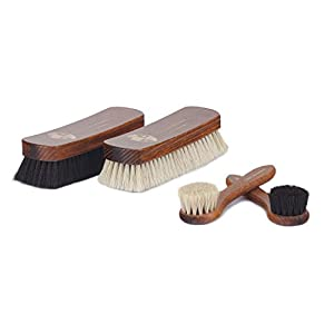 Langer & Messmer Set of 4 shoe brushes for Professional Horse Hair Care Smooth Leather Shoes Boots