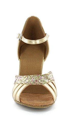 Minitoo Women's Classic Comfort Satin Latin Ballroom Salsa Dance Shoes Gold J85d5QN
