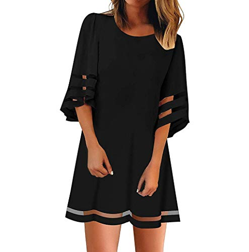 Photno Women's Mini Dress Solid Color Round Neck Mesh Panel Blouse 3/4 Short Sleeve Loose Top Shirt Dress Black