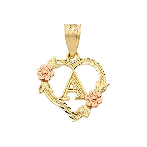 - 10k Two-Tone Initial Heart Pendant for Women in Yellow and Rose Gold - Letter A