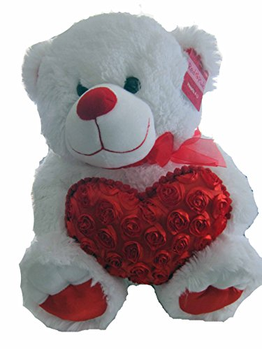 Hearts 4 U 18' Plush Bear Gabi Toy, White with Red Heart of Roses