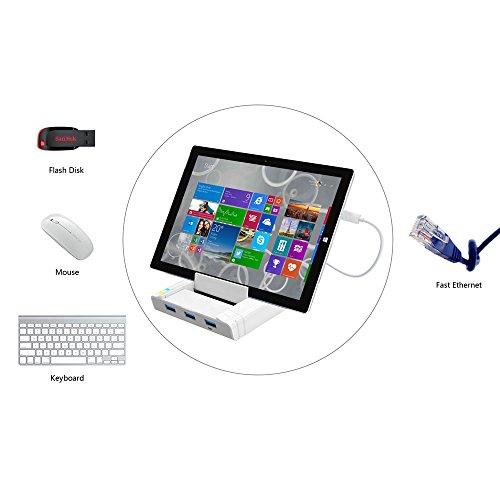 Unitek USB 3.0 3 Port Hub + Docking Station + OTG Adapter + RJ45 10/100/1000 Gigabit Ethernet Adapter for Windows Android Tablet, Smartphone Ultrabook by Unitek (Image #3)
