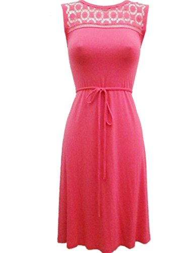 Calvin Klein Coral Stretch Crochet Cotton Belted Slip On A-line Dress-Size 2 (Belted Stretch Cotton)