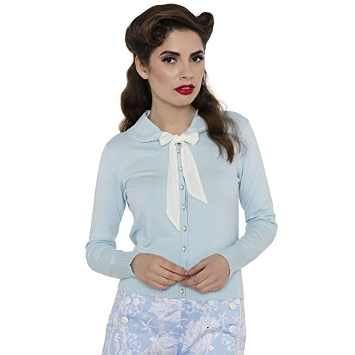Womens-Voodoo-Vixen-Aimee-Pearls-And-Bows-Cardigan-Blue