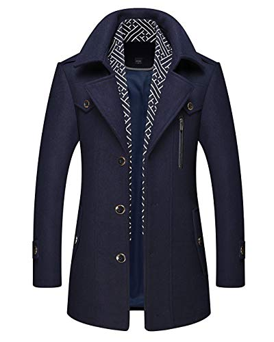 Chartou Men's Stylish Scarf Single Breasted Wool Walker Coat Thick Winter Jacket-6 Colors (Navy Blue, Medium)