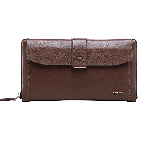 BVP Men's Top Genuine Leather Cowhide Clutch Handbag Brand Wallet Organizer (brown) by BVP