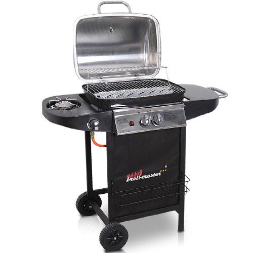 Broil-master - Parrilla profesional negra y plateada BBQ-Grill a gas 2 + 1: Amazon.es: Hogar