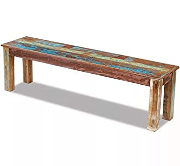 Super Amazon Com Vintage Dining Bench Solid Reclaimed Wood Ncnpc Chair Design For Home Ncnpcorg