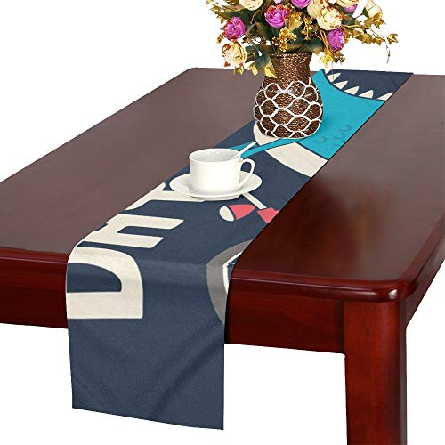 WUTMVING Cute Dinosaur On Bicycle T Table Runner, Kitchen Dining Table Runner 16 X 72 Inch for Dinner Parties, Events, ()
