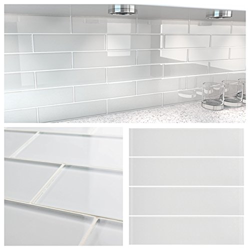 3''x12'' White Crystal Glass Subway Tile for Kitchen Bathroom Shower Spa Wall (Box of 5 sq ft $79) by Tile Depot
