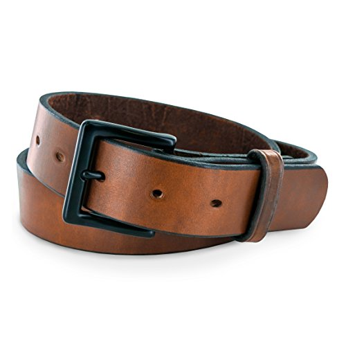 Hanks Everyday - No Break Thick Leather Belt - Mens Heavy Duty Belts- USA Made -100 Year Warranty - Oak - ()