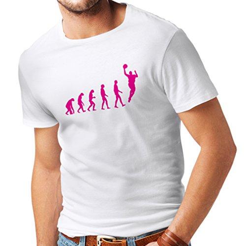T Shirts for Men Evolution Basketball - Street Basket, I Love This Game, Great Fan Gift (Large White Magenta) ()