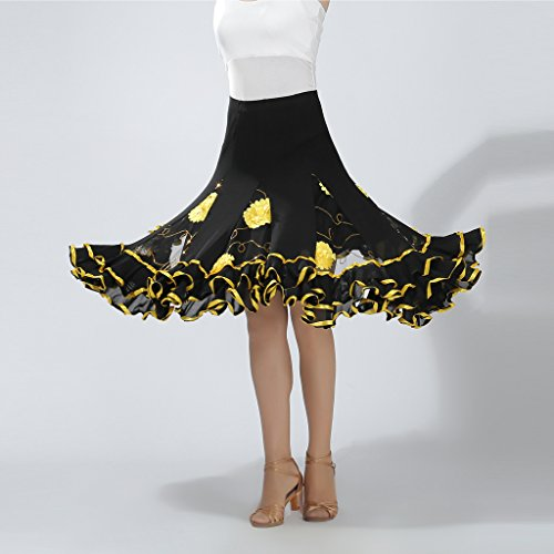 Traje Para De Lentejuelas Amarillo Larga Salsa B Mujer Alta Elástica Cintura Falda Cha Baosity Flamenco Bordado Swing qPzgxwt7