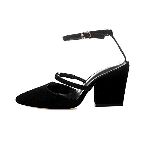 Buckle AgooLar Material Pointed Closed Toe Solid Black Sandals Heels Women's High Soft q4qw7U