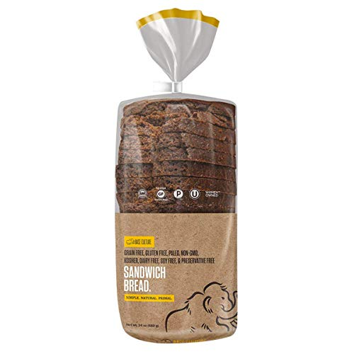 Base Culture Paleo Bread, Large Size | Delicious 100% Paleo, Gluten, Grain, Dairy, and Soy Free- Perfect for Sandwiches (5g Protein Per Loaf, 18 Slices Per Loaf, 1 Count) (Calories In A Slice Of Banana Nut Bread)