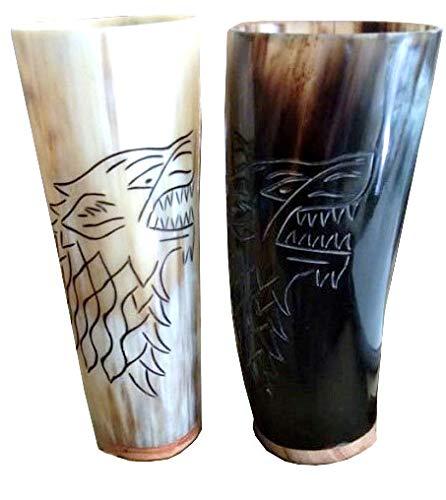 (Ale Mugs New 2 piece drinking tankard viking Bottom Engravings Horn)
