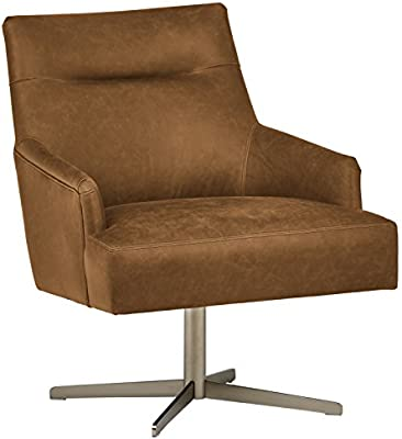 Surprising Rivet Zane Mid Century Modern Swivel Top Grain Leather Accent Chair 28 75 W Saddle Caraccident5 Cool Chair Designs And Ideas Caraccident5Info