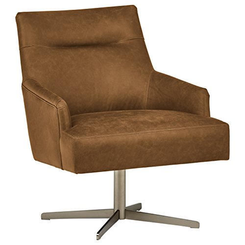 "Rivet Zane Mid-Century Modern Swivel Top-Grain Leather Accent Chair, 28.75"" W, Saddle"