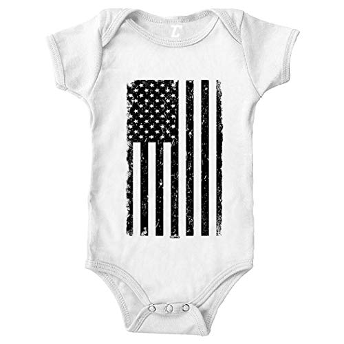 Tcombo Distressed Black American Flag - USA Bodysuit (White, 18 Months)