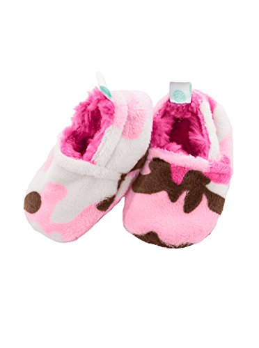 Baby Laundry Plush and Soft Reversible Booties, Slippers/Shoes for Girls - Pink Camo (3-6 Months)