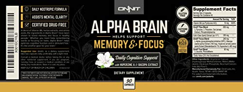 Onnit Alpha Brain: Clinically Studied Nootropic for Memory, Focus, and Mental Clarity (180ct)