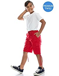 Boys Hipster Hip Hop Belted Heavyweight Twill Cargo Shorts
