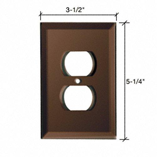 (CRL Duplex Plug Back Painted Glass Cover Plate - Mocha)