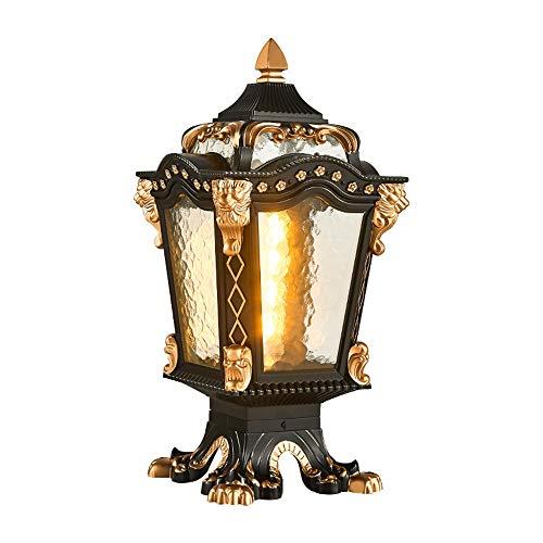 Sunsamy Outdoor Gate Pillar Light, European Column Head Light Waterproof Home Villa Wall Outdoor Light Door Post Light Outdoor Garden Light Wall Lamp Landscape Light (Color : Black, Size : L)