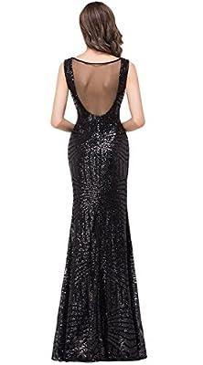 Babyonlinedress Sexy sheer back Sheath sequined Little black dress