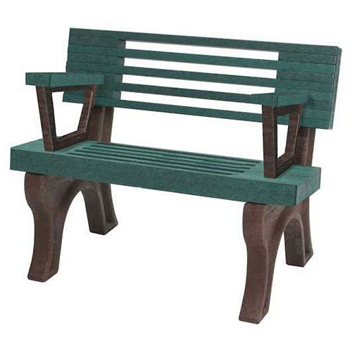Elite 4 Ft. Backed Bench With Arms, Green Bench/Brown Frame