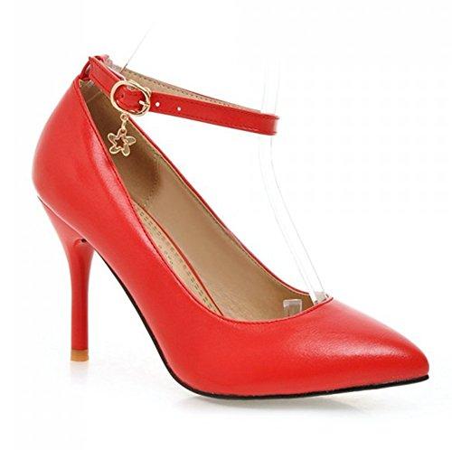 Summerwhisper Women's Elegant Pointed Toe Pumps AnkleStraps Stiletto High Heel Shoes