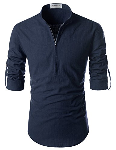 NEARKIN (NKNKN352 Beloved Mens Chinese Zipup Collar Linen Roll Up Shirts Navy US M(Tag Size M)