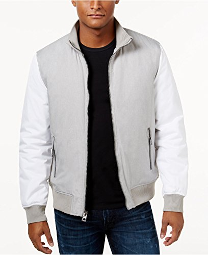 Guess Mens Melange Bomber Jacket, Gray, Large