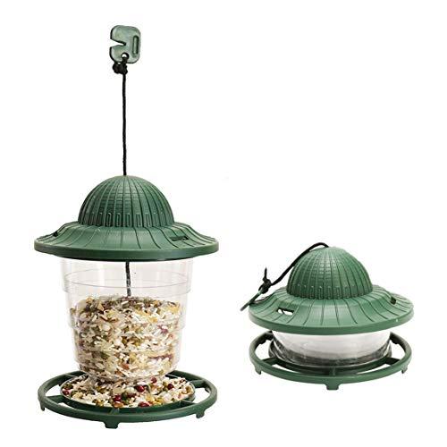 Bird Hanging Gazebo Feeder (ORIENTOOLS Bird Feeder 2-Pack Collapsible Hanging Lantern-Style Plastic Wild Solid Birdfeeder, Gazebo Round Feeders, Waterproof Outdoor Bird Watching, Green)