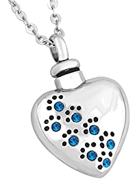 Pet Paw Heart Urn Necklace for Ashes Memorial Keepsake Cremation Pendant