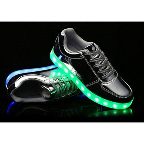 [Present:kleines Handtuch]JUNGLEST JUNGLEST(TM) 7 Farbe USB Aufladen LED Leuchtend Sport Schuhe Sportschuhe Sneaker Turnschuhe für Unise Silber