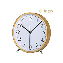 KAMEISHI 8 Inch Wood Desk Clocks Battery Operated For Living room Bedroom Bedside Kitchen Round Decor Table Clock Silent Non Ticking Quiet Sweep Second Hand Quartz Large Numerals KSZ824 White