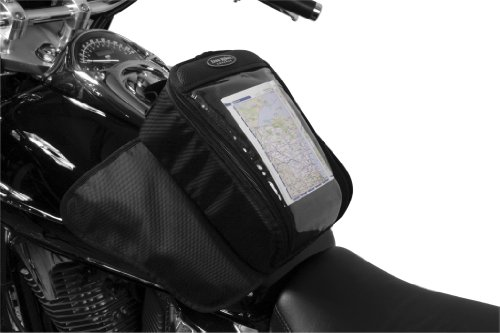 30-00 Water Resistant Reflective Magnetic Mount Motorcycle Tank Bag With Window: Black, Universal Fit, 7 Liter Capacity ()
