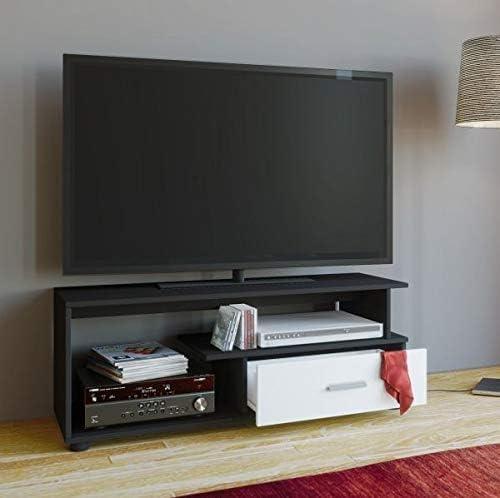 VCM Rimini – Mueble TV, Madera, Negro/Blanco, 43 x 110 x 40 cm: Amazon.es: Hogar