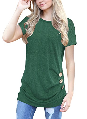 Xuan2Xuan3+Womens+Summer+Short+Sleeve+Tops+T+Shirt+Button+Solid+Color+Casual+Blouse+Tees%2CGreen%2CLarge