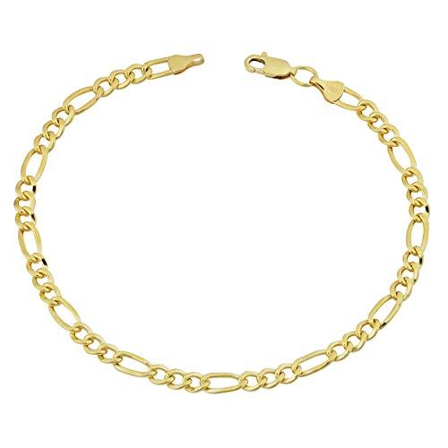 14k Gold Link Bracelet - 14k Yellow Gold Filled Solid Figaro Link Bracelet (4.35mm, 8.5 inch)