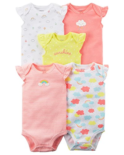 b1e4ce0767 Carter's Baby Girls' 5 Pack Flutter Sleeve Rainbow Bodysuits 12 Months