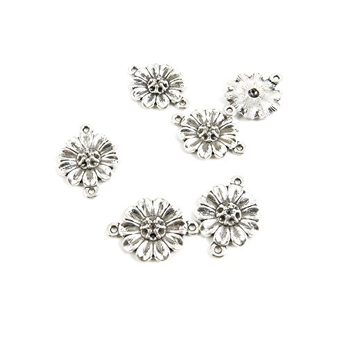 (610 Pieces Antique Silver Tone Jewelry Making Charms Z7MV7 Sunflower Connector Pendant Ancient Findings Craft Supplies Bulk Lots)