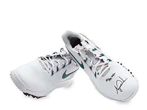 TIGER WOODS AUTOGRAPHED NIKE TW14 GOLF SHOES - WHITE & GREEN UDA LE ()