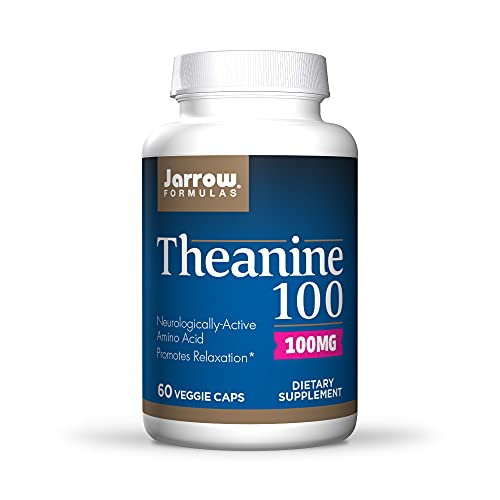 Jarrow Formulas Theanine 100 mg - 60 Veggie Caps - Neurologically Active Amino Acid - Found in Green Tea - Promotes Relaxation - Up to 60 Servings