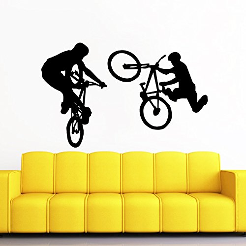 Wall Decal Vinyl Sticker Decals BMX Bike Jump Freestyle Jumping Cyclist Extreme Sports Kids Boys Room Wall Stickers Home Decor Art Bedroom Design Interior Wall Decor Mural
