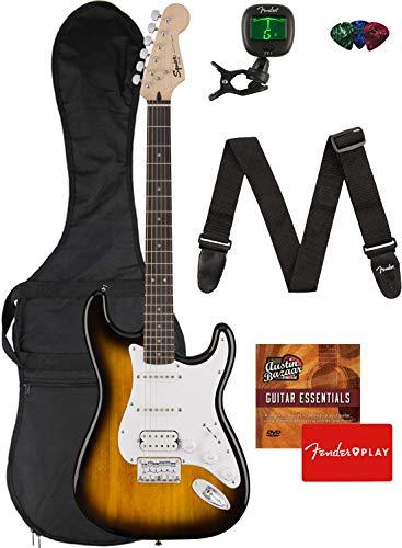 Fender Squier Bullet Stratocaster HSS Hard Tail Guitar - Laurel Fingerboard, Brown Sunburst Bundle with Gig Bag, Tuner, Strap, Picks, and Austin Bazaar Instructional DVD