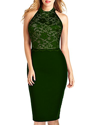 WOOSEA Women's Elegant Sleeveless Floral Lace Vintage Midi Cocktail Party Dress (Medium, Army Green)