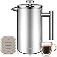 KYG Kaffeebereiter aus Edelstahl French Press System mit 5 Edelstahlfilter Doppelwandige französische Kaffeepresse 1L…